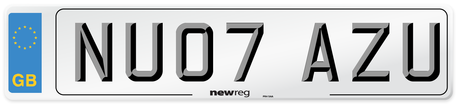 NU07 AZU Number Plate from New Reg